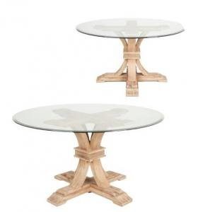 China Round Farmhouse Wood Dining Table Pedestal Glass Top Table 150*150*76cm on sale