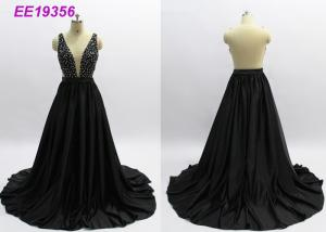 China Sexy Women Long Black Prom Dresses , Sleeveless Black Ball Gown Prom Dresses on sale