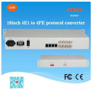 China FCTEL 19 inch 75 Ohm 4E1 to 4 Ports 10/100Mbps Ethernet Isolated Protocol Converter on sale