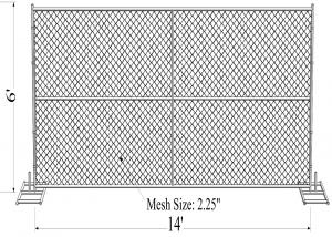 China 1⅜(35mm) tube chain link fence panels 6'x14' chain mesh opening 2⅜x2⅜(60mmx60mm)  diameter 3.00mm on sale