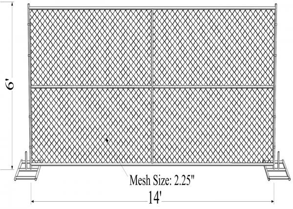 """6' x 14' """"wise man"""" temporary chain link fence panels tube 1"""