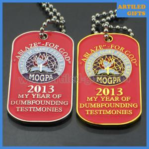 China ABLAZE FOR GOD MOGPA dog tag with ball chain in gold and silver color on sale