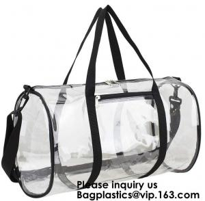 China Clear Duffel Gym Bag Transparent PVC Carry Bag With Shoulder Strap,Cosmetic Carry Bag Magnet Pockets Detachable Shoulder on sale