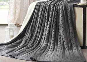 China Warm Dark Knitted Sofa Wool Blanket Shrink - Resistant 160-330gsm on sale