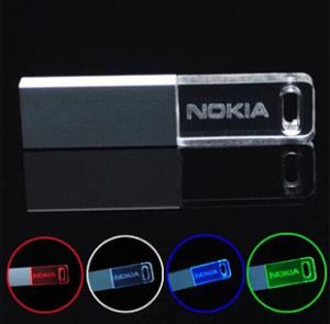 China Ultra-slim customized usb flash drive LED lighting , keychain crystal pendrive on sale