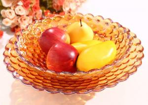 China Home Decoration Use Colored Glaze Crafts , Practical Hand Blown Glass Fruit Dish on sale