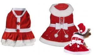 China Holiday Red Small Dog Christmas Dress Apparel Pet Clothes For Poodle on sale