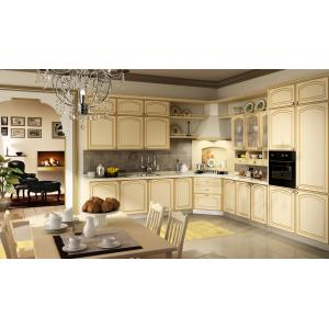 China nature wood grain veneer MDF board with GREECE classical Kitchen cabinet with cheap price BS8025KC on sale