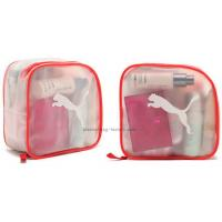Frosted red zipper transparent plastic cosmetic Bag , travel make up bags