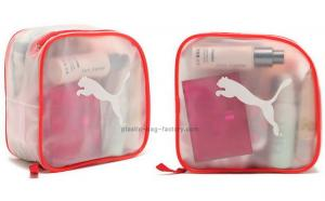 China Frosted red zipper transparent plastic?cosmetic Bag , travel make up bags on sale