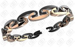 China Swing Stainless Steel Bangle Bracelets In Rose Gold And Black Two Tones Unisex on sale