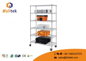 China Kitchen Wire Rack Shelving 4 Layers Black Powder Coated Chrome Wire Shelving on sale