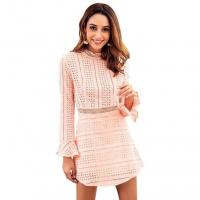 China Women Lace Stitching Ladies Casual Beach Dresses Openwork Sexy Dress Lace Long Sleeve on sale