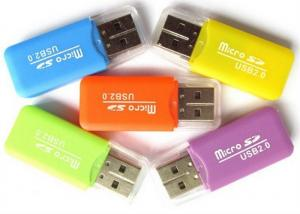 China Customized LOGO Print Portable Card Reader Flash Memory Card Reader With LED Light on sale