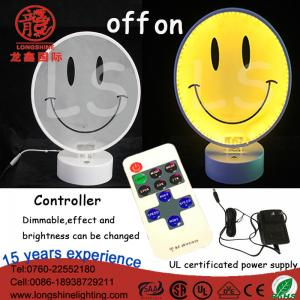 China LED 12V 220V Acrylic Smiling face neon sign table lamp desktop light for home wall decoration on sale