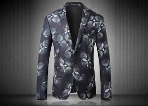 China Two Buttons Mens Floral Printed Suit Jackets Polyester Sublimation Back Vent on sale