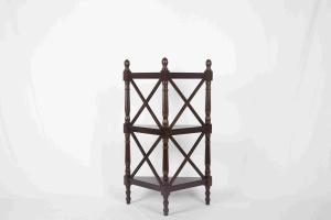 China 3 Tier Corner Shelf Modern Wood Furniture Multi Purpose With X - Pattern Frame on sale