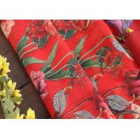 China Fusible Cotton Printed Silk Fabric Voile Type With Flowers Decoration on sale