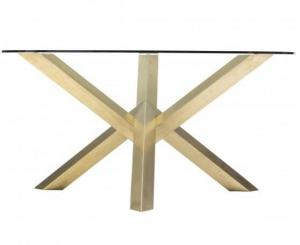 Gold Round Glass Dining Table Stainless Steel Base Dining Table