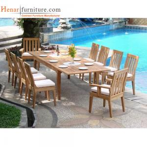 China Teak Wood Outdoor Restaurant Tables And Chairs With Soft Seat Cushion on sale
