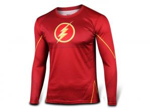 China Red Long Sleeve Rash Guard Mens Compression Shirts SGS Certificated on sale
