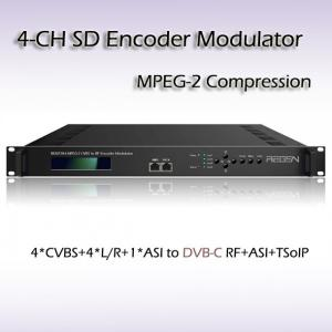 China Hotel TV 4*CVBS to DVB-C(QAM) Four-Channel MPEG-2 SD Vidoe Encoder Modulator SD Video to DVB-RF Cable TV Equipment on sale