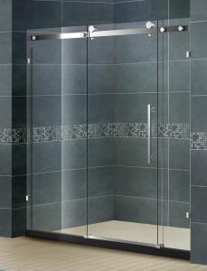 China Frameless Inline Bathroom Shower Enclosures Sliding Door With Big Hanging Wheels 8 MM on sale