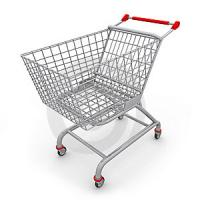 NR Plastic Core White Rubber Covered Roller Application Shopping Cart