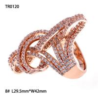 OLF Fashion Luxury Rose Gold Plated 925 Sterling Silver Ribbon Zircon Ring for evening party