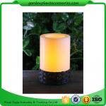 China White Plastic Candle Solar Garden Lights Battery Operated With Black Wick  shrinkwrap+belly band 17x17x12cm 3.33kgs/ctn wholesale