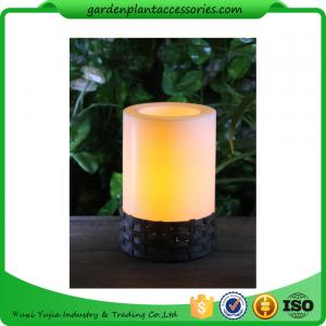 China White Plastic Candle Solar Garden Lights Battery Operated With Black Wick  shrinkwrap+belly band 17x17x12cm 3.33kgs/ctn on sale