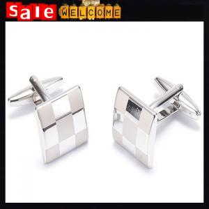 China Cufflinks Laser Engraving Square Grid Platinum White French Shirt Suit Square Cuff Links on sale