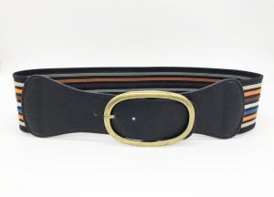 China Multi Color Women'S Elastic Stretch Belts 7.8cm Width With Anti - Brass Buckle on sale