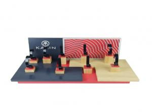 China Customize Wooden Counter Watch Holder Stand Black  Red Assemble Luxury Acrylic Tray on sale