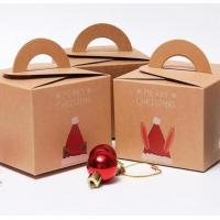 China Recycling Brown Kraft Christmas Paper Box Gift Packaging Box With Handle on sale