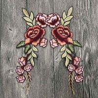 Colourful Floral Embroidered Applique Patches , Polyester Sew On Flower Appliques