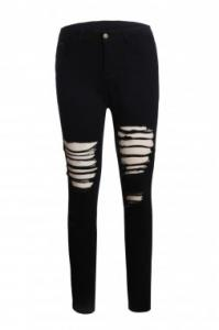 China Black Distressed Jeans for Women on sale
