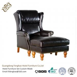 China Black Leather Lounge Chair With Ottoman Wood / Metal Frame Wingback on sale