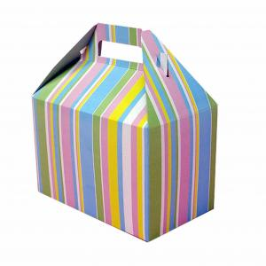 China Beautiful Foldable Cake Packaging Box Silver Art / Kraft Paper With Handle on sale