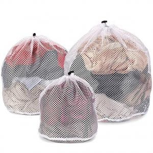 China Delicate Underwear Net Mesh Laundry Bag Wash Protection Rope Seal Open Convenient on sale