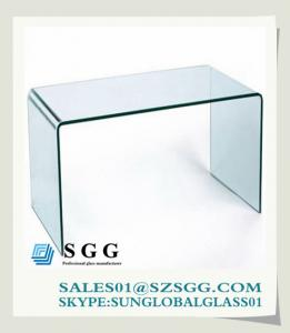 China hot bend glass computer table coffee table console table bent on sale