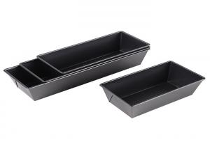 China Mini Champagne Aluminum Loaf Pans , Black Bakeware Pullman Loaf Tin Bread Pan on sale