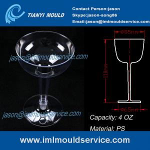China PS 4oz disposable plastic goblets party glasses and cup mold/PS plastic goblet cups mould on sale