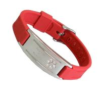 Copper, alloy, tungsten steel red, white, black balance energy silicone bracelet
