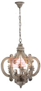 China YL-LT1001 Wholesale Farmhouse vintage wooden chandelier 6-lights wrought iron crown pendant lighting with UL/CE on sale