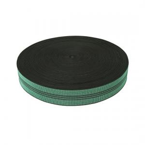 China 50mm Width PP Sofa Elastic Webbing Green Color With 3 Black Lines on sale