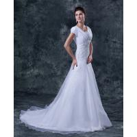 Short Sleeve V Neck A Line Bridal Wedding Dress , Organza Ruffle Style
