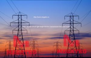 China 230KV double circuit light angle tension transmission line steel tower on sale