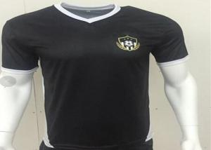 China 100 Mesh Polyester Black V Neck Soccer Jerseys Subimation Printing No Fading on sale