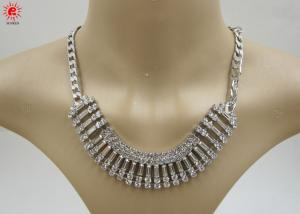 China Girls Silver Trendy Fashion Jewelry Necklace With Rhinestone on sale